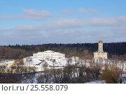 Купить «Вид сверху на усадьбу Дубровицы», фото № 25558079, снято 11 февраля 2017 г. (c) Павел Москаленко / Фотобанк Лори