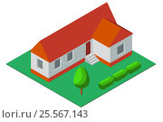 Isometric illustration of simple private house. Стоковая иллюстрация, иллюстратор Rashpil / Фотобанк Лори