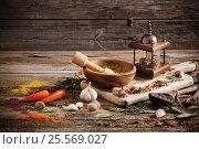 Купить «herbs and spices on a wooden background», фото № 25569027, снято 24 ноября 2016 г. (c) Майя Крученкова / Фотобанк Лори