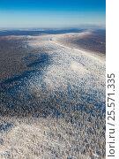 Хребет Каратау, Уральские горы, вид сверху, фото № 25571335, снято 4 февраля 2017 г. (c) Владимир Мельников / Фотобанк Лори