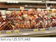 Купить «Колбасный отдел супермаркета», эксклюзивное фото № 25571643, снято 16 февраля 2017 г. (c) Юрий Морозов / Фотобанк Лори