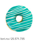 Купить «Donut turquoise color with white stripes», фото № 25571735, снято 16 февраля 2017 г. (c) Наталия Пыжова / Фотобанк Лори
