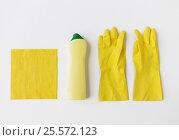 Купить «detergent with cleaning stuff on white background», фото № 25572123, снято 27 октября 2016 г. (c) Syda Productions / Фотобанк Лори