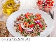 Vegetarian salad with buckwheat. Стоковое фото, фотограф Анастасия Богатова / Фотобанк Лори
