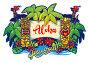 """Гавайи. Статуи Тики, пальмы, факела и баннер с надписью """"Aloha"""". Иллюстрация на белом фоне, иллюстрация № 25581807 (c) Александр Павлов / Фотобанк Лори"""