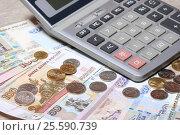 Купить «Российские деньги, монеты, купюры и калькулятор», эксклюзивное фото № 25590739, снято 21 февраля 2017 г. (c) Яна Королёва / Фотобанк Лори