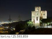 Купить «f Castle of Torre Baro in night. Barcelona», фото № 25593859, снято 10 января 2016 г. (c) Яков Филимонов / Фотобанк Лори