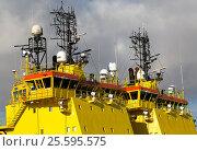 Купить «VIKING shipping line vessels. Oil support ships berthing Montrose Harbour Scotland UK.», фото № 25595575, снято 30 января 2017 г. (c) age Fotostock / Фотобанк Лори