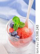 Strawberry sorbet in glass above. Стоковое фото, фотограф Андрей Маслаков / Фотобанк Лори