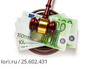 Judge's gavel and one hundred euro banknotes. Стоковое фото, фотограф Ярочкин Сергей / Фотобанк Лори