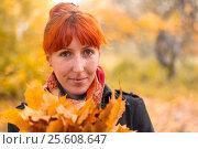 Girl in the autumn forest. Стоковое фото, фотограф Евгений Лосев / Фотобанк Лори