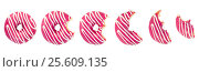 Купить «Eaten donut with pink icing and white stripes», фото № 25609135, снято 16 февраля 2017 г. (c) Наталия Пыжова / Фотобанк Лори