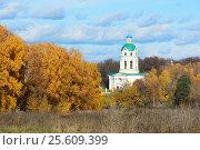 Купить «Гребневский храм», эксклюзивное фото № 25609399, снято 12 октября 2013 г. (c) Alexei Tavix / Фотобанк Лори