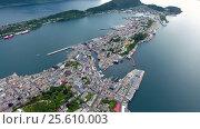 Купить «City of Alesund Norway Aerial footage», видеоролик № 25610003, снято 24 января 2017 г. (c) Андрей Армягов / Фотобанк Лори