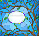 Illustration in stained glass style with the branches of the tree and frame for text on a blue background, иллюстрация № 25612611 (c) Наталья Загорий / Фотобанк Лори