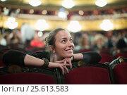Купить «Woman in auditorium of teatre», фото № 25613583, снято 23 мая 2019 г. (c) Яков Филимонов / Фотобанк Лори