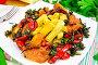 Кабачки с овощами по-гречески в тарелке, фото № 25614891, снято 14 октября 2016 г. (c) Резеда Костылева / Фотобанк Лори
