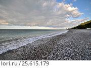 Купить «View of the beach in the Gagra, Abkhazia», фото № 25615179, снято 26 сентября 2014 г. (c) Александр Карпенко / Фотобанк Лори