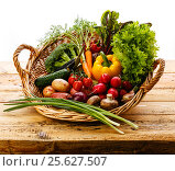 Свежие овощи в корзине, фото № 25627507, снято 26 февраля 2017 г. (c) Лисовская Наталья / Фотобанк Лори