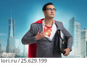 Купить «Superhero preparing to save the city», фото № 25629199, снято 16 февраля 2019 г. (c) Elnur / Фотобанк Лори