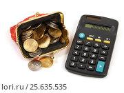 Купить «Кошелёк с монетами и калькулятор», эксклюзивное фото № 25635535, снято 1 марта 2017 г. (c) Юрий Морозов / Фотобанк Лори