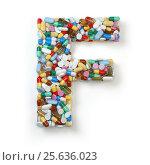 Купить «Letter F. Set of alphabet of medicine pills, capsules, tablets and blisters isolated on white.», фото № 25636023, снято 19 июня 2019 г. (c) Maksym Yemelyanov / Фотобанк Лори