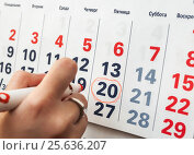 Купить «Женщина обозначает авторучкой дату праздника на календаре», эксклюзивное фото № 25636207, снято 6 февраля 2017 г. (c) Игорь Низов / Фотобанк Лори