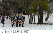 Revolutionary war reenactment at Fort Ward Historic Site Alexandria Virginia Washington DC area on President Day (2014 год). Редакционное видео, видеограф Igor Vorobyov / Фотобанк Лори