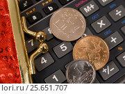 Купить «Деньги, кошелёк и калькулятор», эксклюзивное фото № 25651707, снято 28 февраля 2017 г. (c) Юрий Морозов / Фотобанк Лори