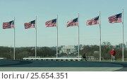 Lincoln and Wold War II Memorials from Washington Memorial hill in Washington DC (2017 год). Стоковое видео, видеограф Igor Vorobyov / Фотобанк Лори