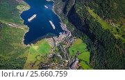Купить «Geiranger fjord, Beautiful Nature Norway Aerial footage.», видеоролик № 25660759, снято 1 марта 2017 г. (c) Андрей Армягов / Фотобанк Лори