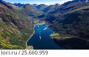Купить «Geiranger fjord, Beautiful Nature Norway Aerial footage.», видеоролик № 25660959, снято 3 марта 2017 г. (c) Андрей Армягов / Фотобанк Лори