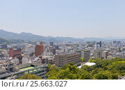Купить «Вид города Коти с главной башни замка Коти, остров Сикоку, Япония», фото № 25663027, снято 19 июля 2016 г. (c) Иван Марчук / Фотобанк Лори