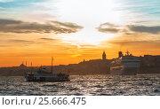 Купить «Ferry between continents in Istanbul», фото № 25666475, снято 20 января 2020 г. (c) Mikhail Starodubov / Фотобанк Лори