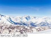 Купить «Beautiful panoramic view of snowcapped mountains», фото № 25667563, снято 22 декабря 2016 г. (c) Сергей Новиков / Фотобанк Лори