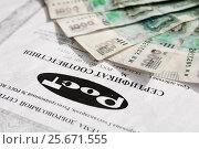 Купить «Сертификат соответствия и российские деньги», эксклюзивное фото № 25671555, снято 6 февраля 2017 г. (c) Игорь Низов / Фотобанк Лори