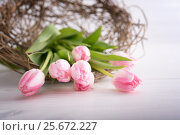 Tulips on wooden table. Стоковое фото, фотограф Юлия Младич / Фотобанк Лори