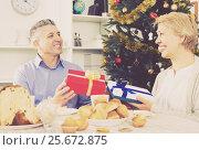 Купить «Mature couple give Christmas gifts», фото № 25672875, снято 21 марта 2019 г. (c) Яков Филимонов / Фотобанк Лори