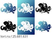 Купить «Set six silhouette octopus on white blue», иллюстрация № 25681631 (c) Анастасия Некрасова / Фотобанк Лори