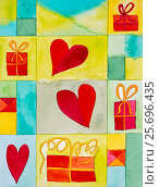 Купить «Aquarelle by Heidrun Füssenhäuser, hearts, gifts», фото № 25696435, снято 23 марта 2006 г. (c) mauritius images / Фотобанк Лори