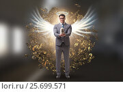 Купить «Angel investor concept with businessman with wings», фото № 25699571, снято 20 августа 2018 г. (c) Elnur / Фотобанк Лори