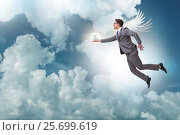 Купить «Angel investor concept with businessman with wings», фото № 25699619, снято 20 августа 2018 г. (c) Elnur / Фотобанк Лори