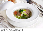 Купить «Dietary green soup with vegetables», фото № 25704711, снято 14 марта 2016 г. (c) Ален Лагута / Фотобанк Лори