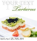 Купить «Salmon tartar with caviar on white background. Gourmet food», фото № 25705391, снято 23 ноября 2013 г. (c) Воронин Владимир Сергеевич / Фотобанк Лори