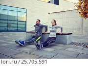 Купить «couple doing triceps dip exercise outdoors», фото № 25705591, снято 17 октября 2015 г. (c) Syda Productions / Фотобанк Лори