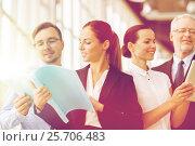 Купить «business team with folders meeting at office», фото № 25706483, снято 3 июля 2016 г. (c) Syda Productions / Фотобанк Лори