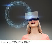 Купить «woman in virtual reality headset or 3d glasses», фото № 25707067, снято 30 апреля 2016 г. (c) Syda Productions / Фотобанк Лори