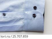 Купить «close up of blue shirt sleeve», фото № 25707859, снято 15 сентября 2016 г. (c) Syda Productions / Фотобанк Лори