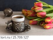 Купить «Чашка кофе весенним утром», фото № 25709127, снято 8 марта 2017 г. (c) Мария Козаченко / Фотобанк Лори