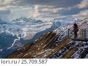 View from Grindelwald First, Jungfrau region, Bernese Oberland, Swiss Alps, Switzerland, Europe. Стоковое фото, фотограф Frank Fell / age Fotostock / Фотобанк Лори
